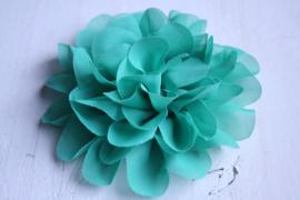 Bloemen chiffon 11 cm ocean blue