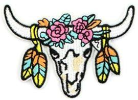 Patches buffelkop Geel-zalm-roze-mint-wit