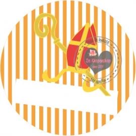 Flatback  mijter streep oranje tekst/naambalk
