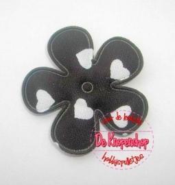 Hartjes bloem zwart 2,5cm
