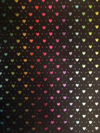 Leer  zwart hartjes regenboog glitter