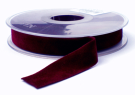 Velvet/fluweel band Bordeaux dubbelzijdig 1.5cm
