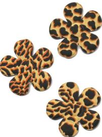 Applicatie bloem met panter/tijger print zand  4,5 cm