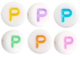 Letterkraal van acryl letter P Multicolor-Wit