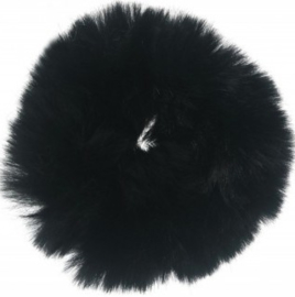 Scrunchie Haarwokkel fluffy  zwart xl