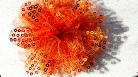Bloem tule pailletten oranje 10 cm