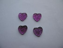 hartje glitter paars/lila