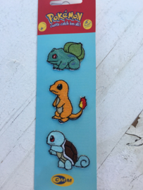 Pokemon strijkapplicatie Charmander-Squirtle-Bulbasaur