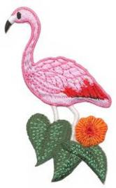Opstrijkbare applicatie flamingo bloem