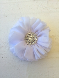 Luxe bloem met strass  wit