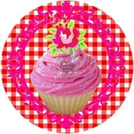 Flatback  cupcake ruitje rood (k288)
