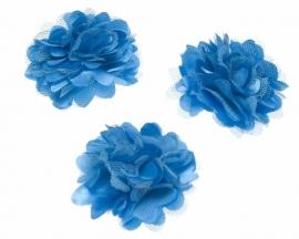 Stoffen satijn bloem met schijfje 5cm *aqua* pst