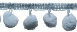 Pompomband lichtblauw 2cm
