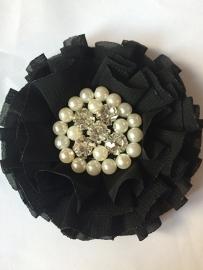 Luxe bloem met strass en parels zwart
