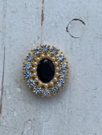 Luxe rhinestone diamant zwart parels gold