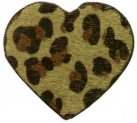 Hanger pu leer  hart harig met tijgerprint legergroen
