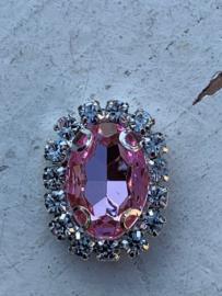 Flatback rhinestone  ovaal zilver luxe  licht roze