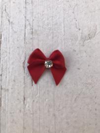 Strikje rood  satijn met strass diamant