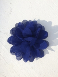 Chiffon bloem royal blue/cobalt blauw 7cm