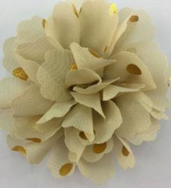 Bloemen chiffon 7 cm beige polkadot goud