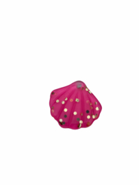 Flatback kraal schelp neon roze glitter goud