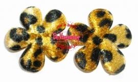 Bloemen luipaard print fluweel 3.5cm