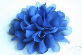 Bloemen chiffon 11 cm royal blue/cobalt blauw