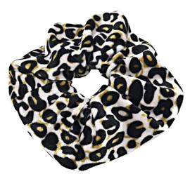 Scrunchies Haarwokkel tijger/panter velvet zwart/oker geel