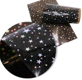 Leer doorzichtig/transparant zwart glinster sterren 20x34 cm