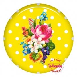 Flatback bloemen polka dot geel (k125)