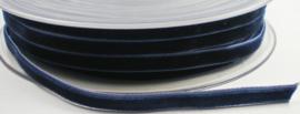Velvet/fluweel band donkerblauw  6 mm