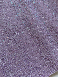Leer kant hartjes/bloemetjes lila  glitter lila 20x30cm