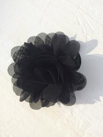 Chiffon bloem zwart 7cm