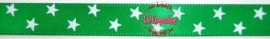 Satijnband sterren  groen 1cm