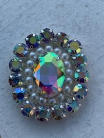 Luxe rhinestone diamant meekleurend parels off white