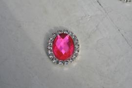 Flatback rhinestone ovaal neon pink