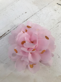 Bloemen chiffon 7 cm pastel lichtroze polkadot goud