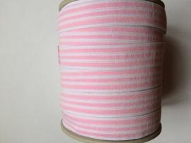 Elastisch roze wit gestreept 1,8 cm