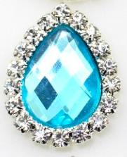Flatback rhinestone druppel blauw