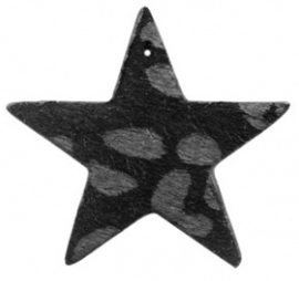 Hanger pu leer  ster  harig met tijgerprint zwart antraciet