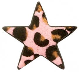 Hanger pu leer ster harig met tijgerprint pink