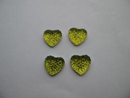 hartje glitter lime groen