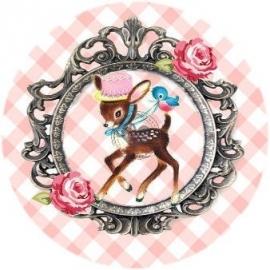 Flatback hertje frame roze ruit (k062)