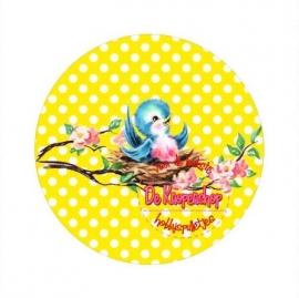 Flatback  vogeltje polkadot geel (k635)