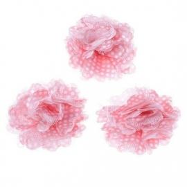 Stoffen bloem met schijfje 5cm *roze & polkadot* pst