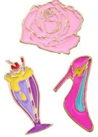 Broches/Pins pink Bloem-hakschoen-sorbet