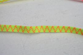 Skinny haarband elastiek neon geel met neon oranje motief