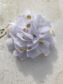 Bloemen chiffon 7 cm wit polkadot goud
