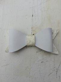 Strik  leer/glitter 7 cm off white