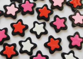 Flatback Ster zwart met roze/rood/felroze/wit